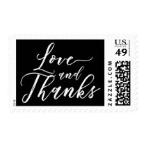 Love and Thanks Hand Lettered Font White on Black Postage