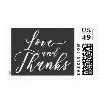 Love and Thanks Hand Lettered Font White on Gray Postage
