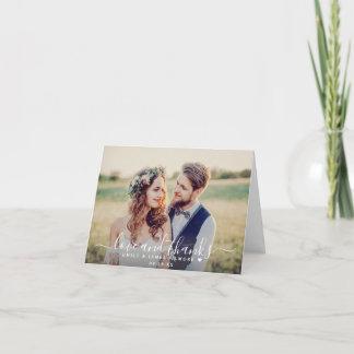 Love and Thanks Handwritten Script Wedding Photo Thank You Card