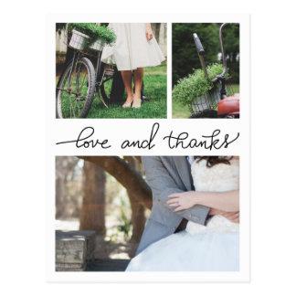 Love And Thanks Handwritten Three Wedding Photos Postcard