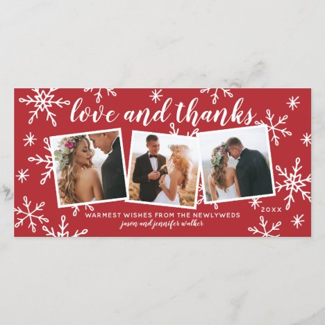Love and Thanks Holiday Wedding Thank You