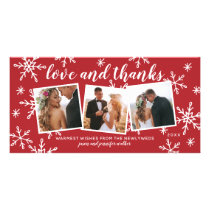Love and Thanks Holiday Wedding Thank You Card