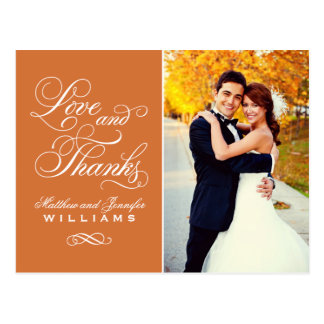 Love and Thanks | Orange Wedding Thank You Postcards