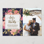 "love and thanks photo card boho floral navy<br><div class=""desc"">A beautiful watercolour boho wildflower/floral design thank you photo card, with navy background and co-ordinating reverse side, with typography wording &quot;love and thanks&quot;. Easy to edit or delete the available text fields to personalise the information with your own details, and add a special photo for a professional and custom finish....</div>"