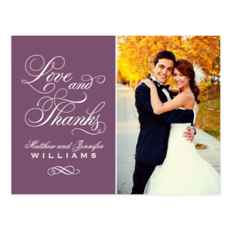 Love and Thanks | Plum Wedding Thank You Postcard