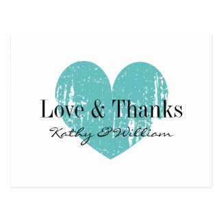 Love and thanks postcard with aqua vintage heart