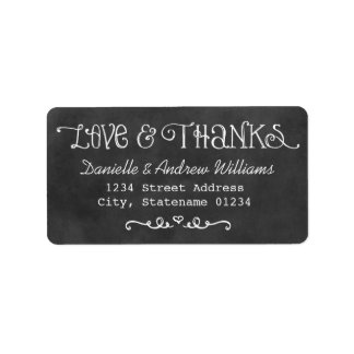 Love and Thanks Return Address | Black Chalkboard Address Label