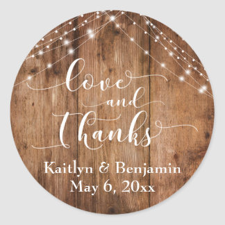 Love and Thanks, Rustic Brown Wood & Lights Classic Round Sticker