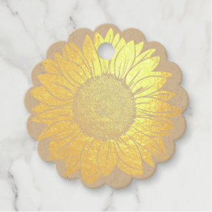 33d76c2b7d2 Love and Thanks Rustic Gold Foil Sunflower Wedding Favor Tags