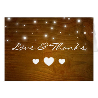 Love and Thanks Rustic Wood Lights Thank You Cards