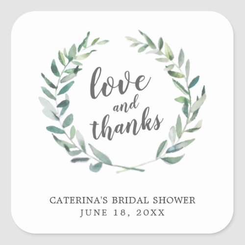 Love and Thanks Rustic Wreath Bridal Shower Favor Square Sticker