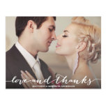 Love And Thanks Script Overlay Postcard at Zazzle