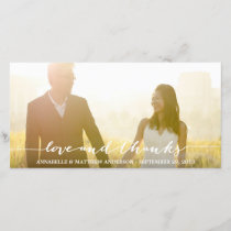 Love and Thanks Script Overlay Wedding Thank You Card