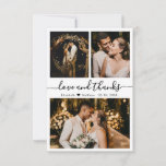 """Love and Thanks Script Wedding Photo  Thank You Card<br><div class=""""desc"""">Elegant, Minimalist Hand Lettered Wedding Photo Thank You Card. Stylish wedding thank you card template featuring three photo on the front and one photo on the back. With the text """"Love and thanks"""" in a swirly hand lettered typography script font in black on white background. Personalize the custom name and...</div>"""