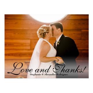 Love and Thanks Sheer Wedding Photo Thank You Card Postcard