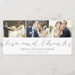 """Love and Thanks Silver Script    Wedding Thank You<br><div class=""""desc"""">This simple and chic 3-photo wedding thank you photo card features a collage with whimsical script lettering that highlights your favorite wedding photos. Please note that this is not actual metallic foil and will be printed flat.</div>"""