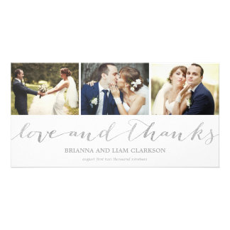 Love and Thanks Silver Script  | Wedding Thank You Card