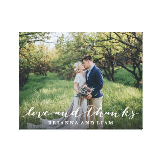 Love and Thanks Simple Script Full Bleed Photo Canvas Print
