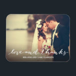 """Love and Thanks Simple Script Full Bleed Photo Magnet<br><div class=""""desc"""">Showcase your favorite photo with this stylish photo magnet that says &quot;love and thanks&quot; in a pretty script.</div>"""