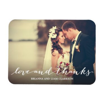 NBpaperco Love and Thanks Simple Script Full Bleed Photo Magnet