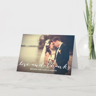 Love and Thanks Simple Script Full Bleed Photo Thank You Card