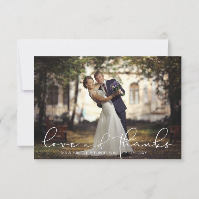 Love and Thanks Single Flower Photo Wedding Thank You Card