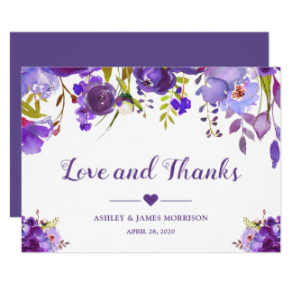 Love and Thanks Violet Purple Watercolor Floral Card