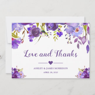 Love and Thanks Violet Purple Watercolor Floral Thank You Card