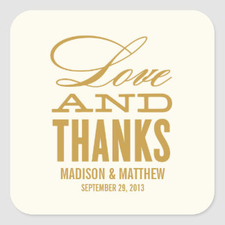 LOVE AND THANKS | WEDDING FAVOR LABELS SQUARE STICKER