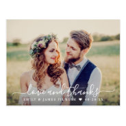 Love And Thanks   Wedding Photo Thank You Postcard at Zazzle