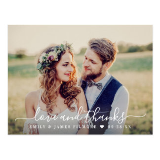 Love and Thanks | Wedding Photo Thank You Postcard