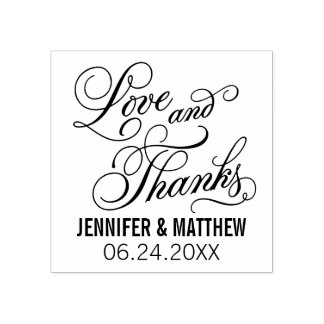Love and Thanks | Wedding Rubber Stamp