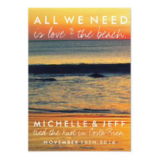 Love and The Beach Eloped Wedding Announcement