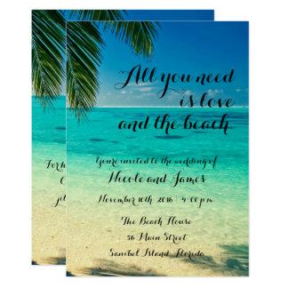 Love and The Beach Script Wedding Invite