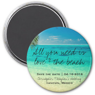 Love and The Beach Wedding Round Save Date Magnets
