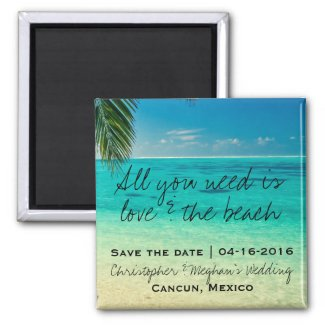 Love and The Beach Wedding Save Date Magnets