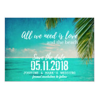 Love and the Beach Wedding Save the Dates Card