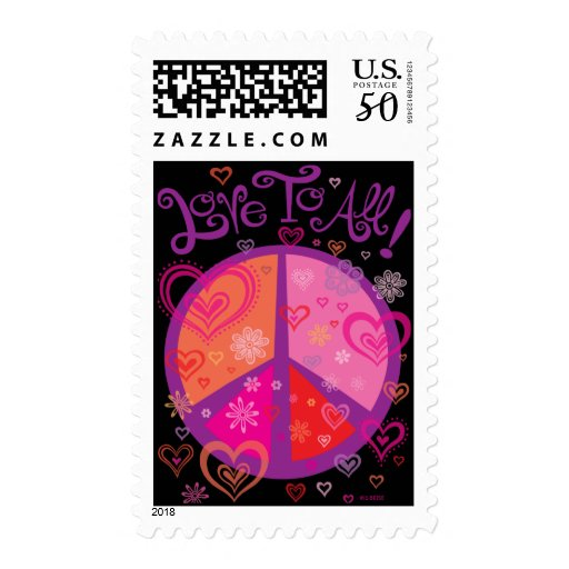 Love to All Peace Sign Postage Stamps