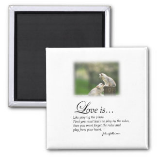 Love and the Piano 2 Inch Square Magnet