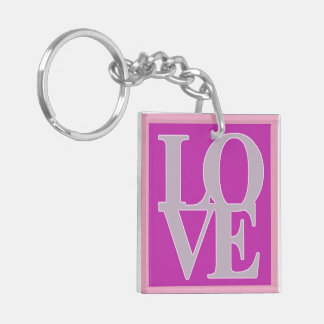 Love and valentine's day Double-Sided square acrylic keychain