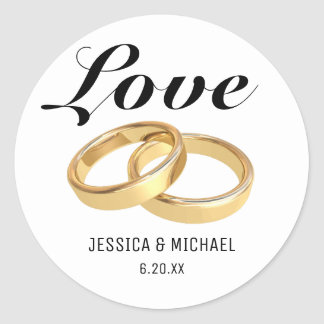 Love and Wedding Rings, Bride Groom Names Classic Round Sticker