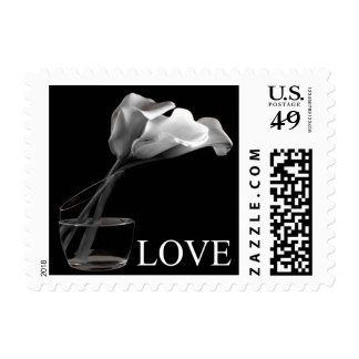 Love And White Calla Lily Wedding Postage Stamp