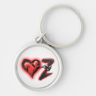 Love And Zombies White Heart Silver-Colored Round Keychain