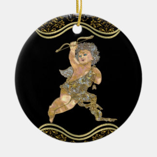 Love Angel Double-Sided Ceramic Round Christmas Ornament