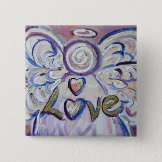 Love Angel Word Art Button Pendant Pin