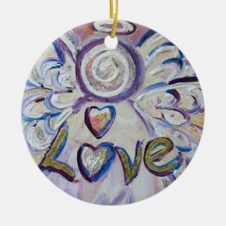 Love Angel Word Art Gift Holiday Ornament