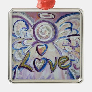 Love Angel Word Art Gift Holiday Ornaments