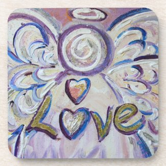 Love Angel Word Cork Coasters