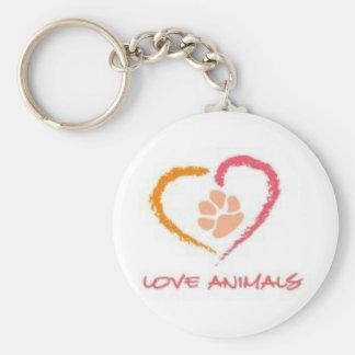 Love Animals Basic Round Button Keychain
