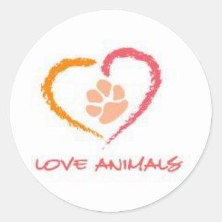 Love Animals Classic Round Sticker